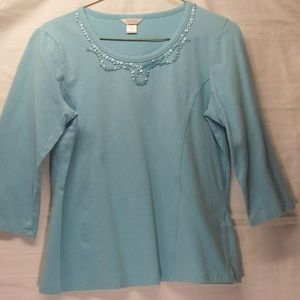 Christopher & Banks Turquoise Top, Button Detail